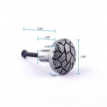 spec-<PRE>Iron Cabinet Knob Round Cobble Stone Design Pewter Finish Cabinet Hardware</PRE>