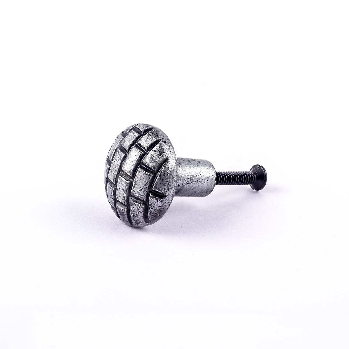Iron Cabinet Knob Round Pewter Finish Brick Design Cabinet Hardware Round Cabinet Knobs Vintage Dresser Hardware Knobs Antique Cabinet Knobs