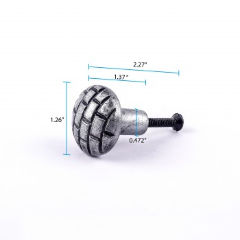 spec-<PRE>Iron Cabinet Knob Round Pewter Finish Brick Design Cabinet Hardware</PRE>