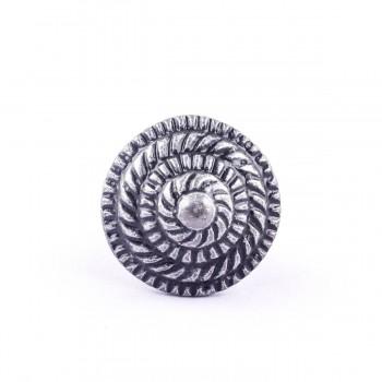 <PRE>Round Iron Cabinet Knob Pewter Finish Fibonacci Design Cabinet Hardware  </PRE>