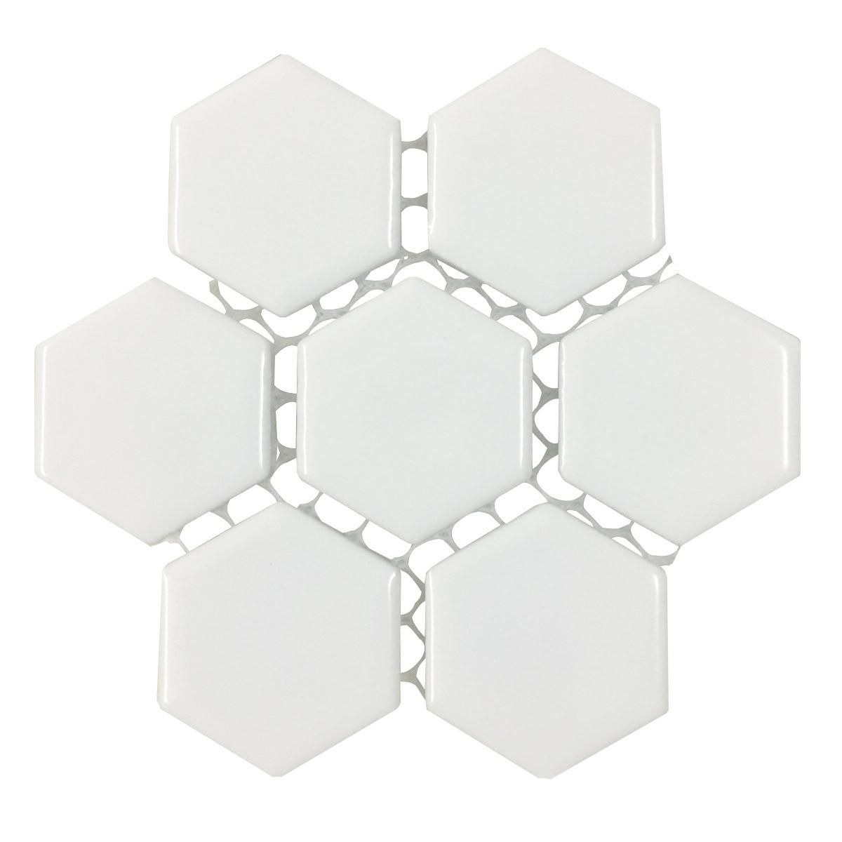 Porcelain Mosaic Hexagon Glossy White Floor and Wall Tile 19.3 SQ FT Floor Tiles Mosaic Wall Tiles Mosaic Wall Tiles Ceramic