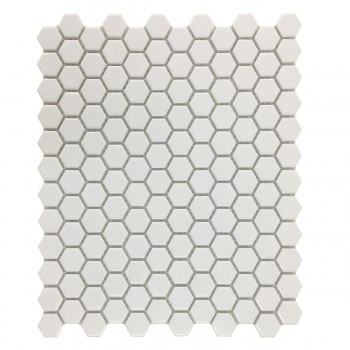 Porcelain Mosaic Hexagon Glossy White Floor and Wall Tile 19.3 SQ FT22188grid