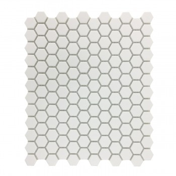 Matte White Hexagonal Tile Porcelain For Floors or Walls 19.3 SQ FT 23 Tiles 22189grid