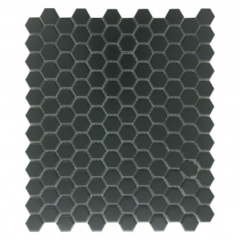 Porcelain Mosaic Hexagon Matte Black Floor and Wall Tile 19.3 SQ FT22190grid