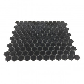 <PRE>Porcelain Mosaic Hexagon Glossy Black Floor and Wall Tile 19.3 SQ FT</PRE>zoom3