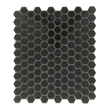 Porcelain Mosaic Hexagon Glossy Black Floor and Wall Tile 19.3 SQ FT22191grid