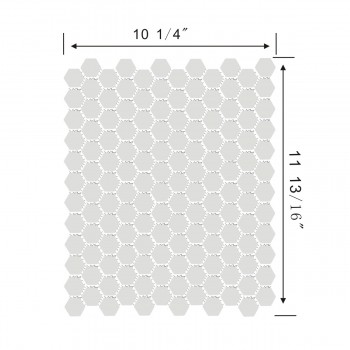 "spec-<PRE>Mosaic Hexagon Matte White and Black Tile 23 Sheets 10.25"" x 11.8"" 19.3 SQFT</PRE>"