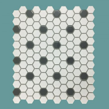 "<PRE>Black and White Mosaic Hexagon Floor Wall Tile 23 Sheet 10.25inch x 11.8"" 19.3 SQFT</PRE>zoom2"