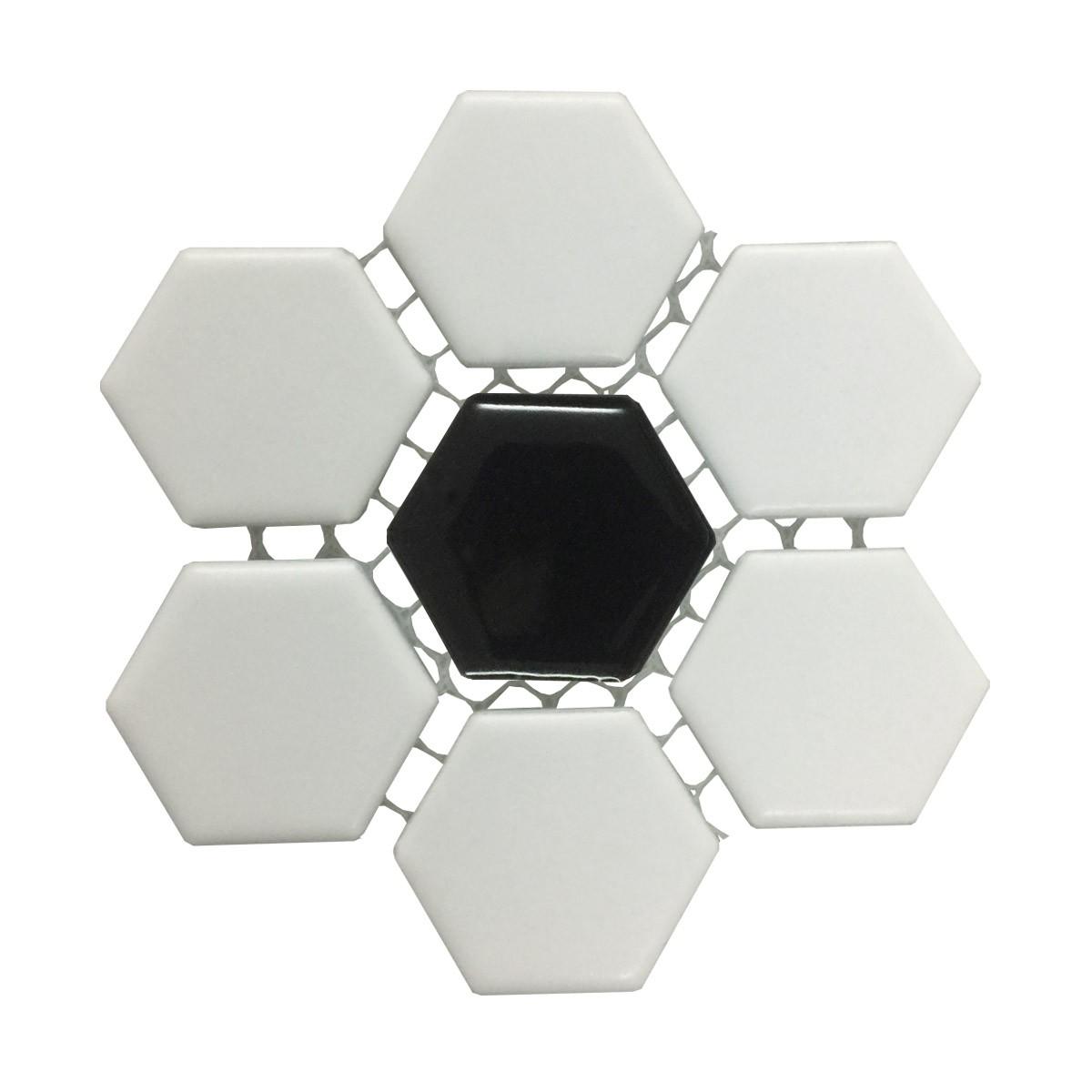 Black and White Mosaic Hexagon Floor Wall Tile 23 Sheet 10.25 x 11.8 19.3 SQFT Floor Tiles Mosaic Wall Tiles Mosaic Wall Tiles Ceramic