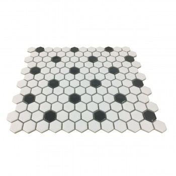"<PRE>Black and White Mosaic Hexagon Floor Wall Tile 23 Sheet 10.25inch x 11.8"" 19.3 SQFT</PRE>zoom3"