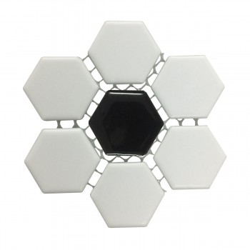 "<PRE>Black and White Mosaic Hexagon Floor Wall Tile 23 Sheet 10.25inch x 11.8"" 19.3 SQFT</PRE>zoom4"