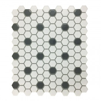 "<PRE>Black and White Mosaic Hexagon Floor Wall Tile 23 Sheet 10.25inch x 11.8"" 19.3 SQFT</PRE>zoom1"