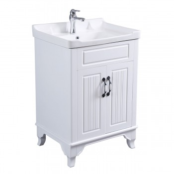 34 58 H X 24 14 W White Bathroom Vanity Cabinet With Top Wall Mount Sink
