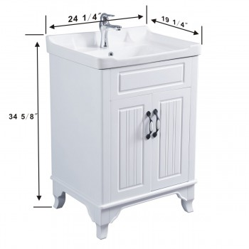 spec-<PRE>34 5/8&quot; H X 24 1/4&quot; W White Bathroom Vanity Cabinet With Top Wall Mount Sink</PRE>