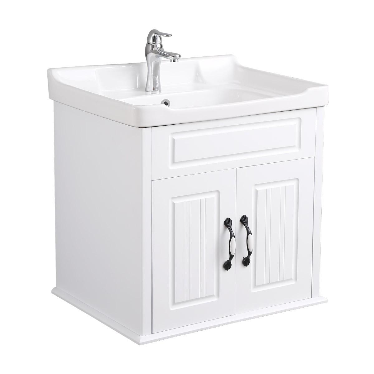 Bathroom Sink Cabinet Wall Mount White MDF KD Package