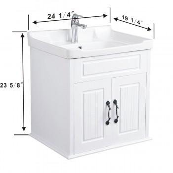 spec-<PRE>Bathroom Sink Cabinet Wall Mount White MDF KD Package</PRE>