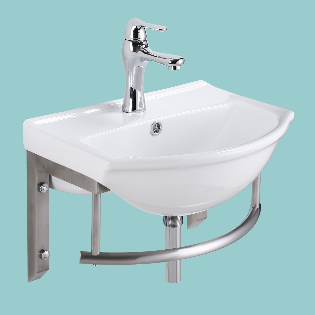Small Wall Mount Bathroom Sink with Stainless Steel Towel Bar Faucet ...
