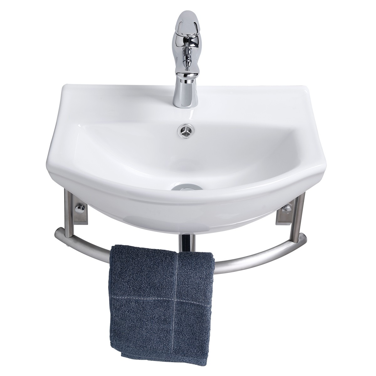 Small Wall Mount Bathroom Sink With Stainless Steel Towel Bar Faucet