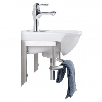 <PRE>Wall Mount Bathroom Small Sink SS Towel Bar </PRE>