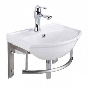 Small Wall Mount Bathroom Sink with Stainless Steel Towel Bar22227grid
