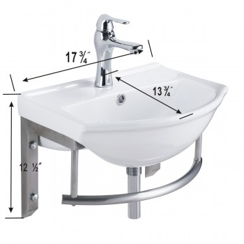 spec-<PRE>Small Wall Mount Bathroom Sink with Stainless Steel Towel Bar</PRE>