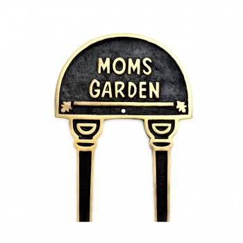 Solid Brass Plate Garden Sign MOMS GARDEN Lacquered-Brass Plaques22237grid