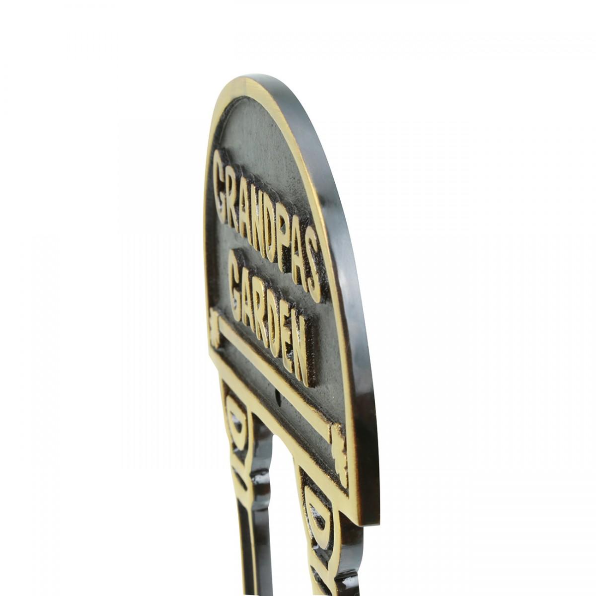 Solid Brass Plate Garden Sign GRANDPAS GARDEN Brass Plaques Brass Sign Plate Brass Plaque Antique Brass Sign