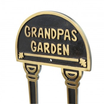 Solid Brass Plate Garden Sign GRANDPAS GARDEN Brass Plaques Brass Sign Plate Brass Plaque Antique Brass Sign
