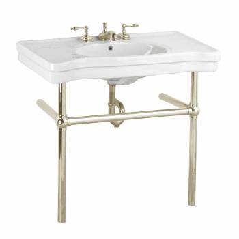 White Console Sink Deluxe Belle Epoque Porcelain with Satin Nickel Bistro Legs22240grid