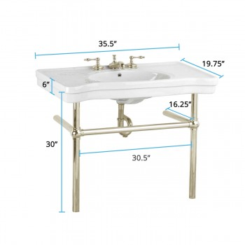 spec-<PRE>White Console Sink Deluxe Belle Epoque China with Satin Nickel Bistro Legs</PRE>