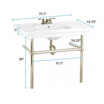 spec-<PRE>White Console Sink China Belle Epoque with Satin Nickel Bistro Legs</PRE>