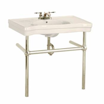 Bone Console Sink Belle Epoque Vitreous China with Satin Nickel Bistro Legs22242grid