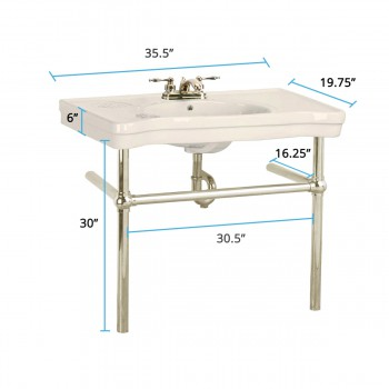 spec-<PRE>Biscuit Console Sink Belle Epoque Vitreous China with Satin Nickel Bistro Legs</PRE>
