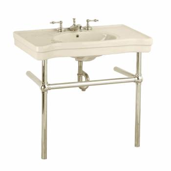 Biscuit Console Sink Viterous Porcelain Belle Epoque with Satin Nickel Bistro Legs22243grid