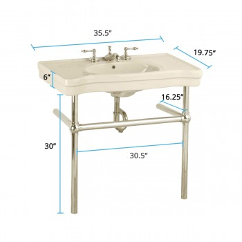 spec-<PRE>Biscuit Console Sink Viterous China Belle Epoque with Satin Nickel Bistro Legs</PRE>