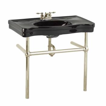 Black Ebony Console Sink China Belle Epoque with Satin Nickel Bistro Legs22244grid