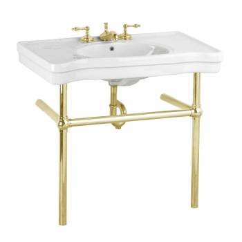 White Console Sink Belle Epoque China with Brass Bistro Legs