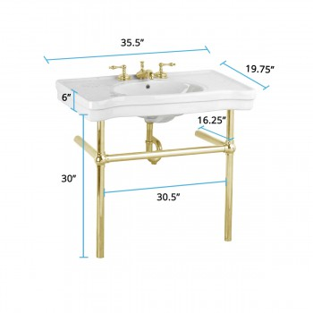 spec-<PRE>White Console Sink Belle Epoque China with Brass Bistro Legs</PRE>