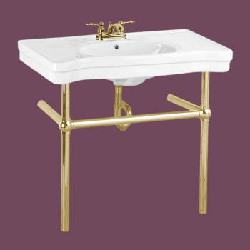 <PRE>White Console Sink China Belle Epoque With Brass Bistro Legs</PRE>zoom2