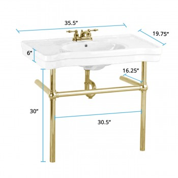 spec-<PRE>White Console Sink China Belle Epoque With Brass Bistro Legs</PRE>