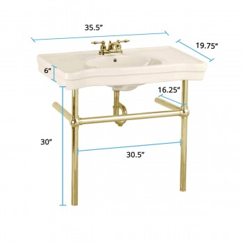 spec-<PRE>Bone Console Sink China Belle Epoque with Brass Bistro Legs</PRE>