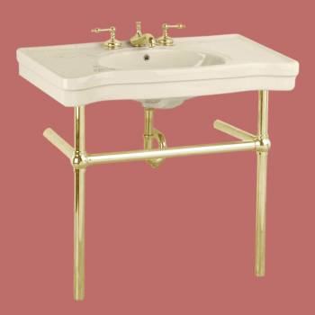 Biscuit Console Sink Biscuit Porcelain Belle Epoque with Brass Bistro Legs Porcelain Console Sink Glossy Console Sinks Bathroom Console Sink