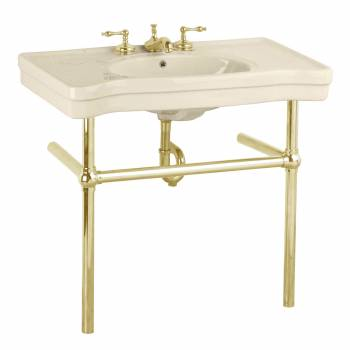 Bone Console Sink Bone China Belle Epoque with Brass Bistro Legs22248grid