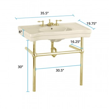 spec-<PRE>Biscuit Console Sink Biscuit Porcelain Belle Epoque with Brass Bistro Legs</PRE>