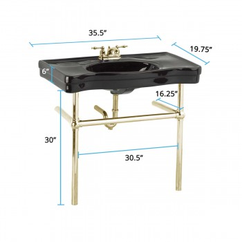 spec-<PRE>Black Console Sink China Ebony Belle Epoque Deluxe with Brass Bistro Legs</PRE>