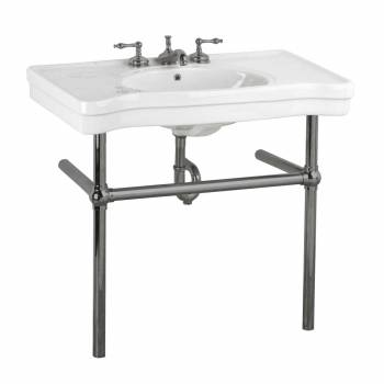 Console Sink Porcelain Vitreous China Belle Epoque with Black Nickel Suppor Legs22253grid