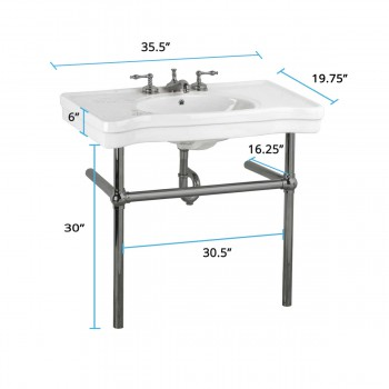 spec-<PRE>White Console Sink Grade A Vitreous China Belle Epoque with Black Nickel Legs</PRE>