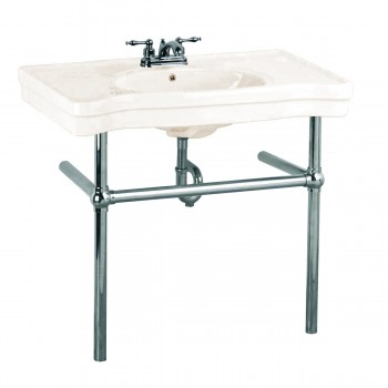 Bone Console Sink Vitreous China Belle Epoque with Black Nickel Legs22255grid