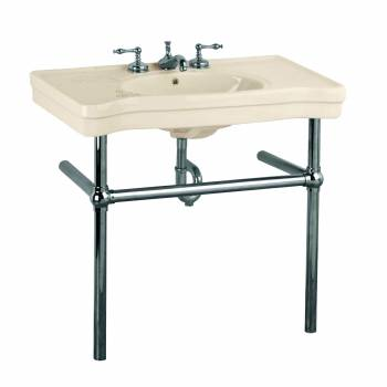 Bone Console Sink Vitreous China Belle Epoque with Black Nickel Legs22256grid
