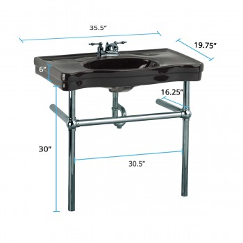 spec-<PRE>Black Console Sink China Belle Epoque with Black Nickel Legs</PRE>